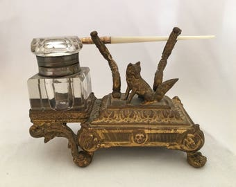 Antique Footed Brass Inkwell with Fox