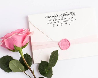 Custom Return Address Stamp, Self Ink Return Address Stamp, Wedding Return Address, Calligraphy Address Stamp Return Address Stamp No 115