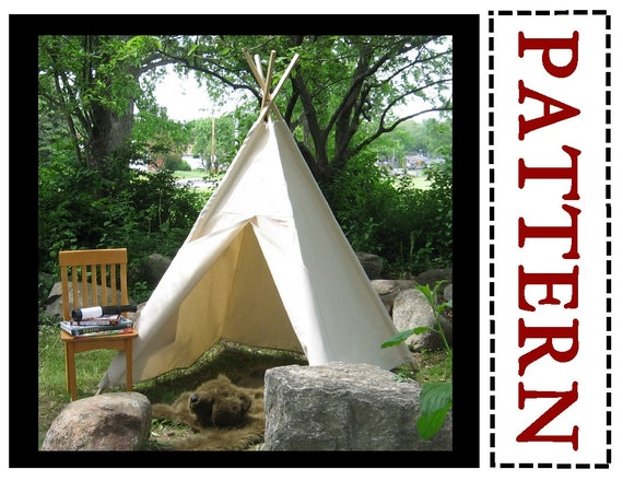Kids Canvas Teepee Sewing Pattern Kids Tent Play Tent