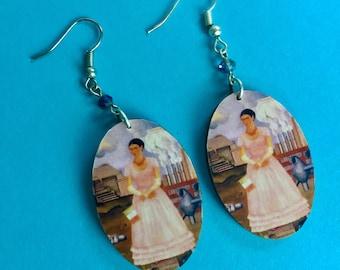 Borderline Portrait Handmade Wooden Frida-Inspired Earrings from Oaxaca, Mexico