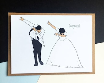 Wedding Congratulations card - Dab Dance couple Card - Funny Congratulations Card - Wedding card - Engagement card - Congratulations card