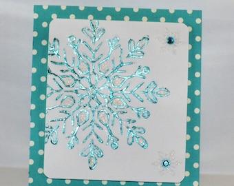 Turquoise metallic Christmas Card with Snowflake