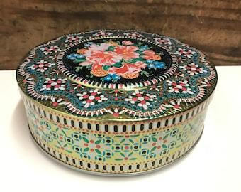 Vintage Raised Mosaic Floral Tin, Vintage Candy Tin, Decorative Tin, Round Floral Tin, Old Biscuit Tin