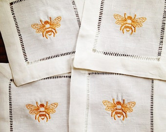 Cocktail Napkin with Embroidered Bee/ Monogram Gift - Set of 4
