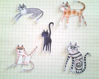 Cats Too Sticker Set, unique, hand cut, Art Stickers