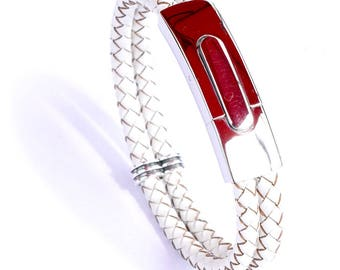 Silver Clasp White Leather Bracelet
