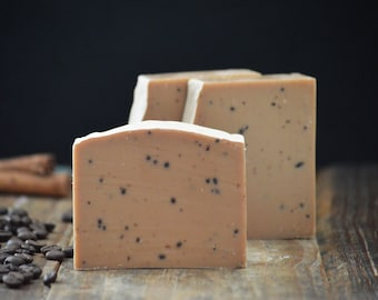 Espresso Caffeinated Soap | Luxury Cocoa Butter Soap with Coffee Seed Oil and Caffeine Extract, Exfoliating Ground Coffee Soap, Scented Soap
