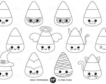 Kawaii Digital Stamps, Candy Corn Line Art, Halloween Clip Art - Commercial Use, Instant Download