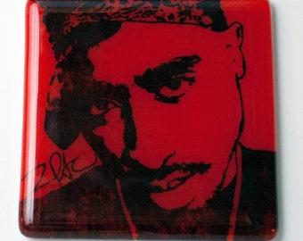 Tupac Shakur Rapper Singer Fused Glass Coaster, Music, 2pac, Makaveli, poet, actor, rap, hip hop