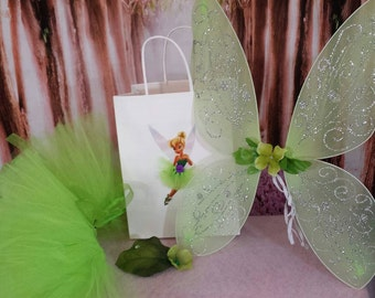 Tinkerbell party bag set,gift bag, tutu skirt, hairclip and fairy wings, Fairy birthday set, Tinkerbell birthday tutu with accessories