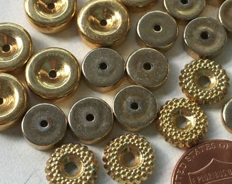 VB217 Assorted vintage metal spacers/beads gold colored metals 34 of them jewelry making crafts