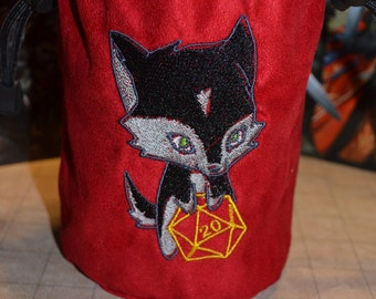 Dice Bag D20 Black Wolf Embroidered suede