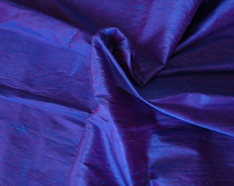 Silk Dupioni in Rich Blue with Pink shimmers, Extra wide 54 inches, Half yard DEX 134