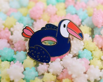 Toucan Floatie Pool Party Hard Enamel Pin