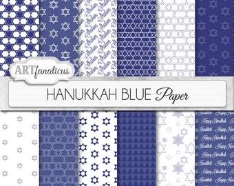 "Hanukkah digital papers ""Hanukkah Blue"" Star of David, Chanukah, jewish star, digital backgrounds for scrapbooking, invitations, cards & etc"