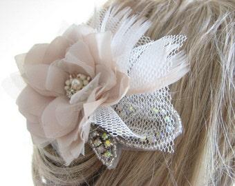 Cream hair flower Champagne hair flower Wedding cream flower Cream headpiece Champagne wedding flower Wedding hair flower Ivory hair flower