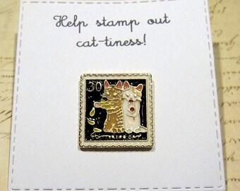Cat stamp Enamel Pin with handmade Punny card & envelope - Lapel Pin - Hard Enamel Pin - Kittens - Kawii - Trending - Backpack Pin