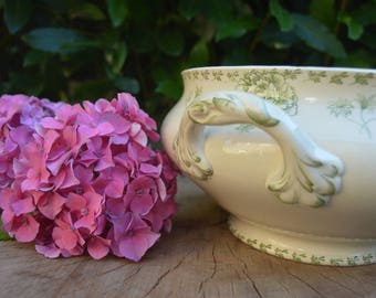 Antique French large cream and green tureen footed Sarreguemines 1930's