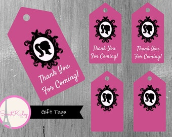 Printable Fashionista Gift Tags & Favor Tags! Thank You Tags, Blank Tags, Barbie, Pink, Black