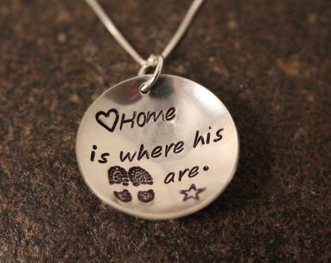 """Custom Hand Stamped Sterling Silver """"Home is Where His Boots Are"""" Necklace for Military Wives Girlfriends Etc"""