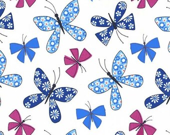Chasing Butterflies in Blue from the Saturday Morning Collection - 1 yard - Michael Miller Fabric - Butterfly fabric
