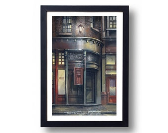 Harry Potter Poster, Harry Potter Art, Harry Potter Diagon Alley, Harry Potter Wall Art, The Leaky Cauldron Travel Poster