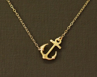 Gold Anchor Necklace - 14K Gold Filled Chain