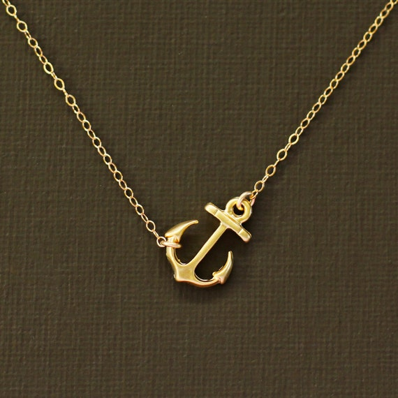 Gold Anchor Necklace 14K Gold Filled Chain