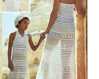 SALE ***Crochet PATTERN - Halter Neck Dress Womens and Girl's Sizes - Vintage Retro Maxi Beach Tunic Cover Up