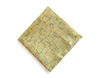 Lime green geo print pocket square