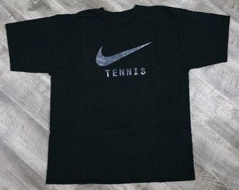 Vintage 90s Nike Tennis Swoosh T-shirt Black size Large//Vintage Nike Tee