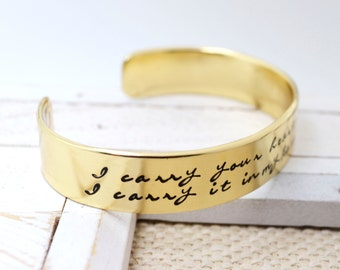 Brass Cuff Bracelet Hand Stamped,  Personalized Brass Bracelet, Custom Bracelet, Secret Message, Mommy Gift