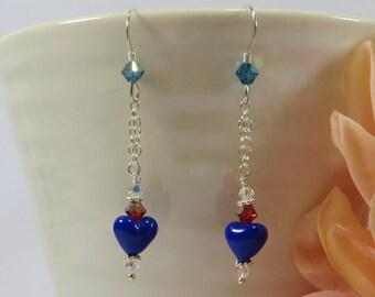 Mini Heart & Chain Earrings. Venetian Murano Glass Lapis Blue Heart Earrings w Swarovski Crystal and Silver, Little Dark Blue Heart Earrings