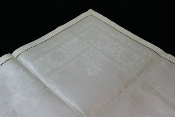 Ivory Irish Linen Double Damask Napkins, Small Table Cover, Floral Motif & Hemstitiched, Deadstock Set of Three, Vintage Linens