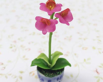 Miniature Flower,Miniature Flower Pot,Miniature Orchid,Dollhouse Flower,Miniature Garden,Dollhouse Orchid,pink Orchid