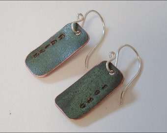 Maine State House Copper Roof Small Rectangle Stamped Earrings Limited Edition AC