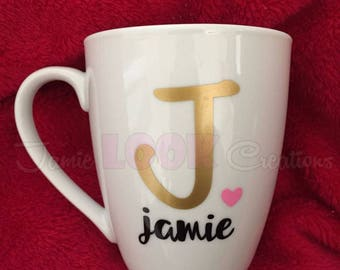 Personalized Name Mug, Custom Monogram Mug, Monogram Coffee Cup, Monogram Glass, Custom Mug, Monogram Mug, Custom Monogram