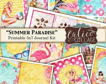 Summer Paradise, Junk Journal Kit, Printable Journal, Pin Ups, Instant Download, Digital Printable, Summer Journal, Printable Ephemera