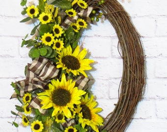 Sunflower Wreath, Sunflower Decor, Oval Wreath, Door Decor, Oval Grapevine, Mothers Day Gift