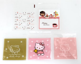 Self Adhesive Gift Bags. Plastic. Candy. Cookie. Hello Kitty. Cat. Bear. Pink. Heart.