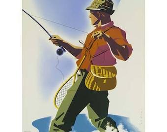 Colorado Travel Poster - Vintage Travel Print Art - Home Decor - Fishing