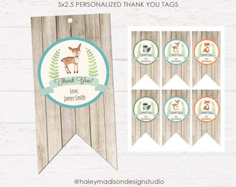 Woodland Thank you tags, Baby Shower tags, Birthday Tags, Rustic Style Favor you tags, DIGITAL FILE HM111