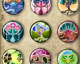 Printable Digital Art Nouveau Circles, 1 Inch Circle Images Pendants Bottlecaps Magnets Earrings Scrapbooking Instant Download CS 442