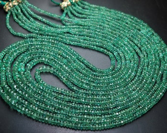 Natural ZAMBIAN EMERALD,15 Inch Strand, 41 Carats,Rare Finest Quality 100%Natural Emerald Micro Faceted Rondelles, 2.5-5.5mm