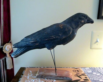 SALE  Papier Mache Crow Decoy 1920s