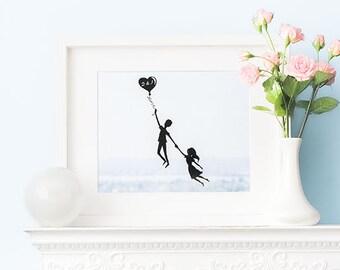 Couple Print, Art Print, Personalized Art, Soft Blue Art, Anniversary Gift, Minimalist Wall Art, Wedding Husband Gift, Boyfriend Art Gift