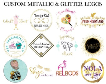 Metallic Logo - Custom Logo Design - Glitter Logo - Boutique Logo - Blog Branding - Small Business Branding - Geometic Logo - Etsy Cover