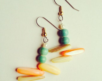 Earrings - Minty Green Glass with Peachy Shells and Pearls -
