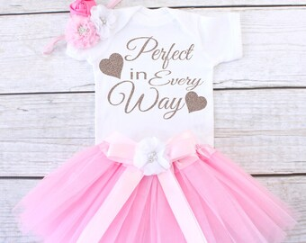 Perfect in Every Way. Take Home Outfit. Newborn Outfit. Baby Tutu Outfit. Baby Clothing Set. Baby Girl Outfit. T13 GRL (LPINK)