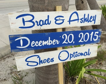 Navy blue Beach Wedding Sign, Rustic Wedding Decor Wood Gift, Shoes Optional Directional Sign